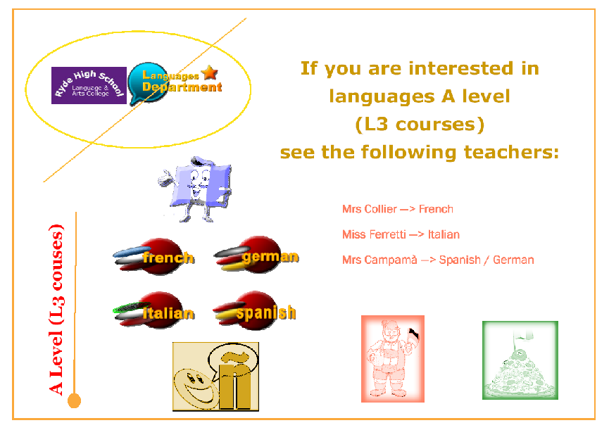 Postcard promoting A-level L3 languages courses