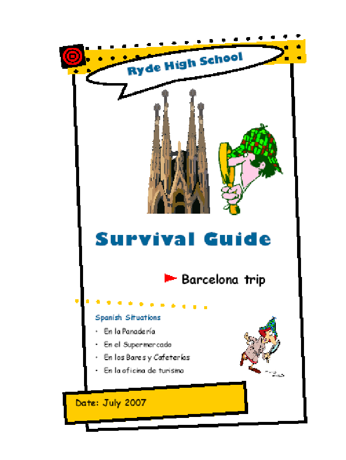 guide with activities for the students during a language trip