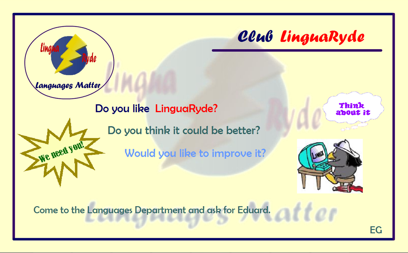 advert for a club to discuss about the linguaryde website