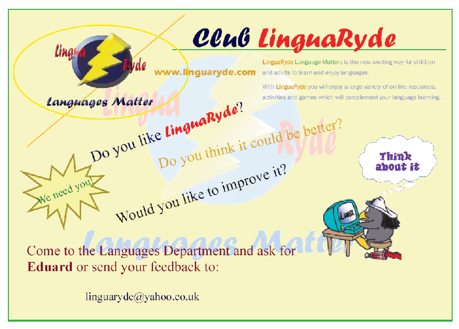 Poster to prote Club Linguaryde
