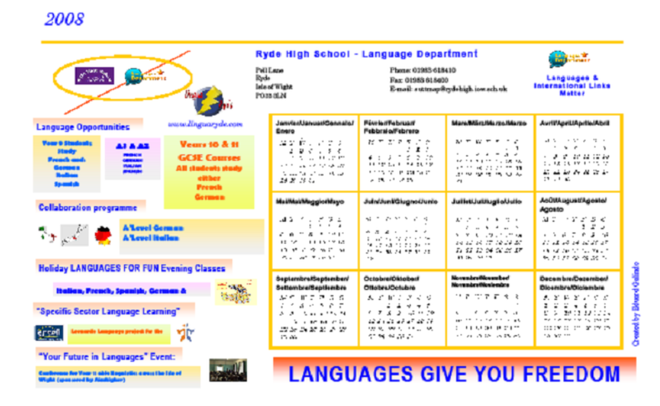 2008 - 2009 calendar to promote the Language dept