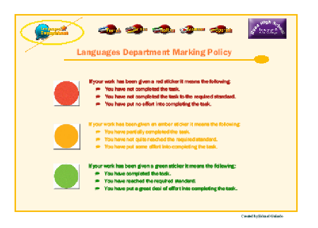 Postcard for students to know the marking policy