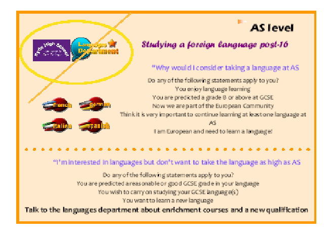Postcard to promote study a language in POst-16