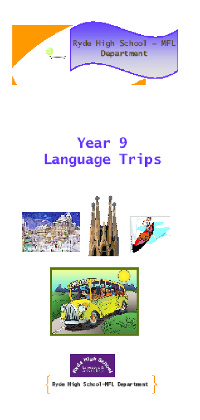 brochure promting year 9 trips in language department